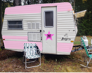 retro caravan with pink siding