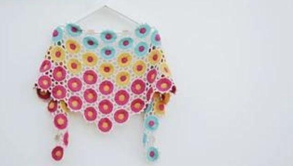 beautiful bright colored crocheted shawl