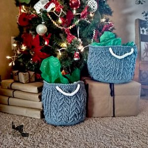 cabled crochet basket beneath christmas tree